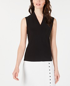 Nine West Pleated V-Neck Top