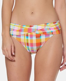 Bleu by Rod Beattie Plaid Sarong Hipster Bikini Bottoms