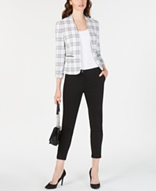 Nine West Stand-Collar Plaid Jacket & Cuffed Pants