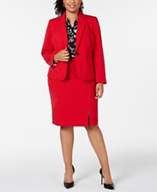 Nine West Plus Size Jacket, Stretch Skirt & Printed Blouse