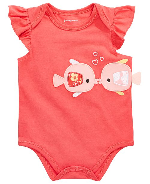 First Impressions Baby Girls Kissing Fish Bodysuit, Created for Macy's
