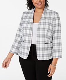 Nine West Plus Size Stand-Collar Plaid Jacket