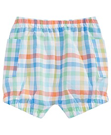 First Impressions Baby Boys Plaid-Print Cotton Bloomer Shorts, Created for Macy's