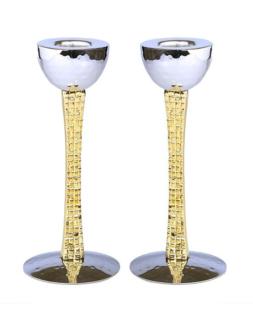 Classic Touch Set of 2 Candle Holders with Mosaic Design