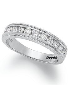 Diamond Ring, 14k White Gold Certified Diamond Milgrain Anniversary Band (1/2 ct. t.w.)