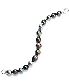 Pearl Bracelet, Sterling Silver Multicolor Cultured Tahitian Pearl Baroque Bracelet (9-11mm)