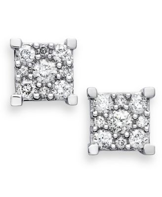 Macy S Diamond Square Cer Earrings In 14k White Gold 1 2 Ct T W Jewelry Watches