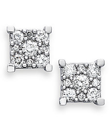 Diamond Square Cluster Earrings in 14k White Gold (1/2 ct. t.w.)