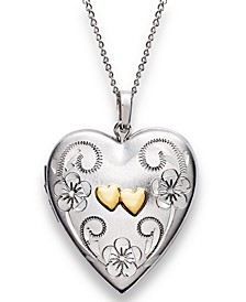 Sterling Silver and 14k Gold Necklace, Heart Locket Pendant