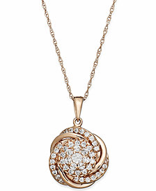 Wrapped in Love™ Pave Diamond Knot Pendant Necklace in 14k Rose Gold (3/4 ct. t.w.), Created for Macy's