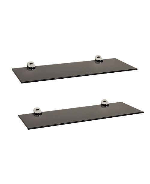"Danya B Set of 2 Black Smoke Glass Floating Shelves with Chrome Brackets 16"" x 6"""