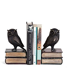 Owl on Books Bookend Set