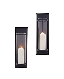 Metal Pillar Candle Sconces with Glass Inserts - Set of 2