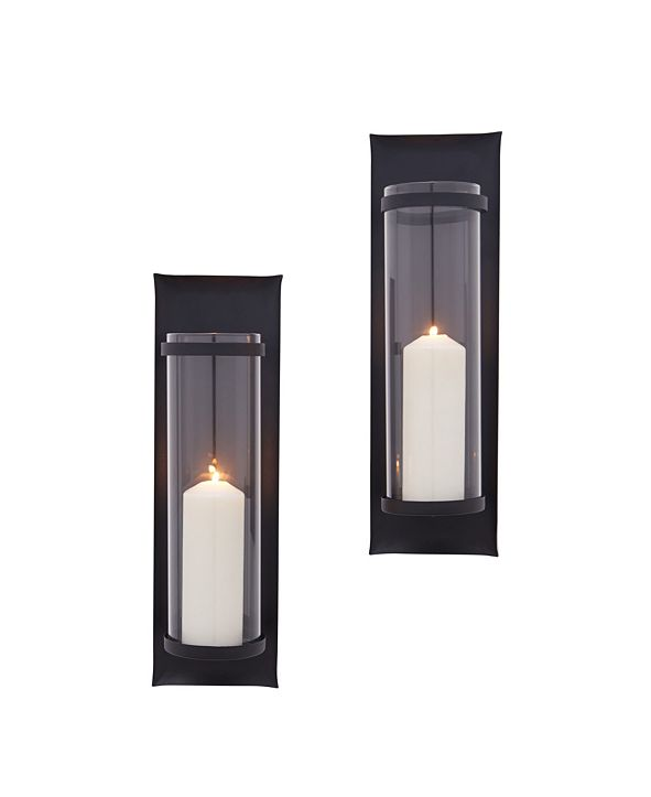 Danya B Metal Pillar Candle Sconces with Glass Inserts - Set of 2