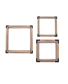 Rustic Pine Wall Cubes with Black Metal Accents (Set of 3)