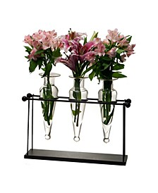 Triple Clear Amphora on Iron Stand with Finials Vases