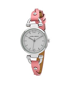 Pink Ladies' Dial Analog Display Twisted Band Round Watch