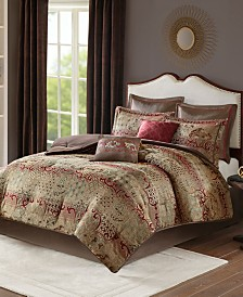 Madison Park Hickory Queen 8 Piece Chenille Jacquard Comforter Set