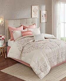 Madison Park Elise California King 8 Piece Cotton Printed Reversible Comforter Set