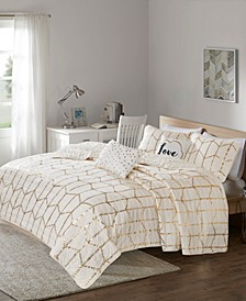Raina Full/Queen 5 Piece Metallic Printed Coverlet Set