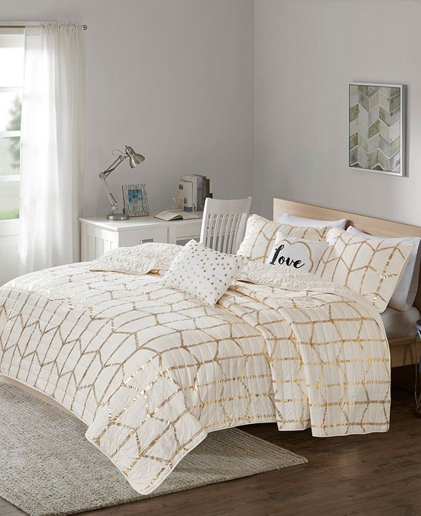 Intelligent Design Raina Full/Queen 5 Piece Metallic Printed Coverlet Set