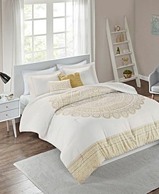 Intelligent Design Nomad Full/Queen 5 Piece Metallic Medallion Printed Comforter Set