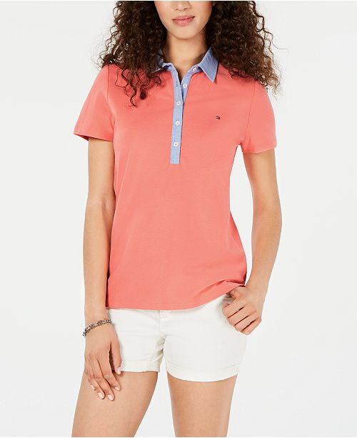 Tommy Hilfiger Plus Size Chambray Collar Polo Shirt, Created for Macy's