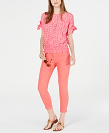 MICHAEL Michael Kors Petite Painted Reef Smocked Top & Petite Izzy Ankle Skinny Jeans