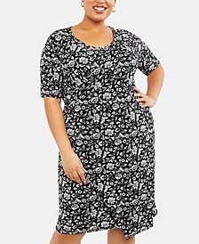 Pluis Size Printed Nursing Dress