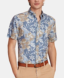 Brooks Brothers Men's Regular-Fit Faded Floral Short Sleeve Shirt