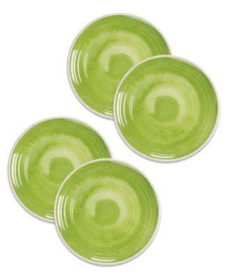 Raku Green Dinner Plate, Set of 4