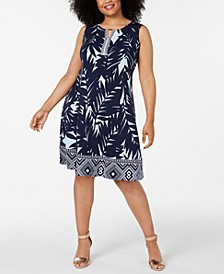 Petite Plus Size Palm-Print Dress, Created for Macy's