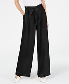 I.N.C. Satin Wide-Leg Paper Bag Tie Waist Pants, Created for Macy's