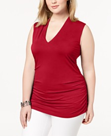 I.N.C. Plus Size Ruched V-Neck Tank, Created for Macy's
