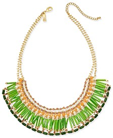 "I.N.C. Gold-Tone Multi-Bead Statement Necklace, 18"" + 3"" extender, Created for Macy's"