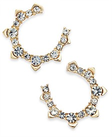 I.N.C. Gold-Tone Crystal Bypass Hoop Earrings, Created for Macy's