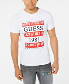 GUESS Men's Gothic Stripe Logo Graphic T-Shirt