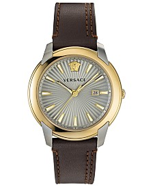 Versace Men's Swiss V-Urban Brown Leather Strap Watch 42mm