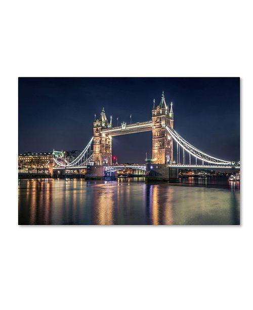 "Trademark Global Nader El Assy 'Night At The Tower Bridge' Canvas Art - 19"" x 12"" x 2"""