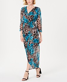 Connected Surplice Side-Tie Maxi Dress