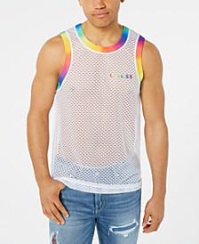 Men's Shot Mesh Rainbow Tank