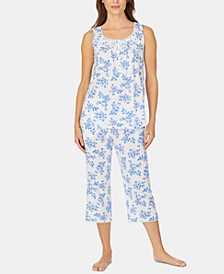 Lace-Trim Tunic and Capri Pants Knit Pajama Set