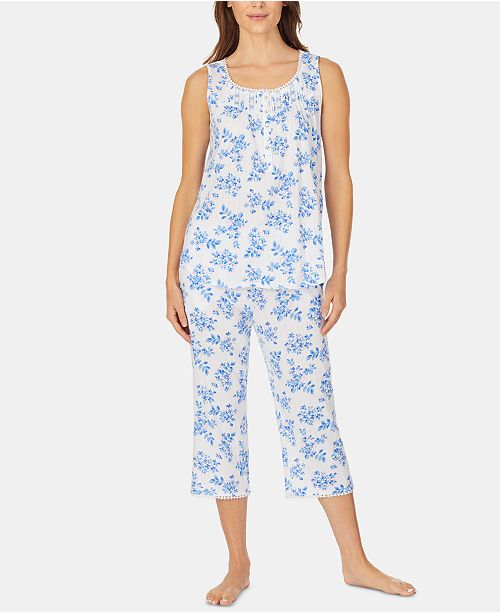 Eileen West Lace-Trim Tunic and Capri Pants Knit Pajama Set