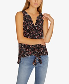Sanctuary Craft Tie-Front Printed Sleeveless Shirt