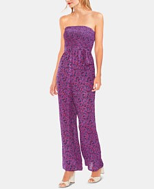 Vince Camuto Strapless Printed Jumpsuit