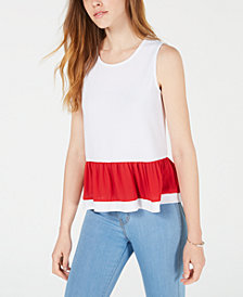 Maison Jules Two-Tone Peplum Top, Created for Macy's