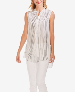 Vince Camuto Tops DELICATE STRANDS STRIPED HIGH-LOW TUNIC
