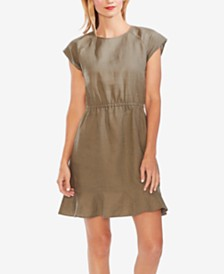 Vince Camuto Linen Ruffled-Hem Dress