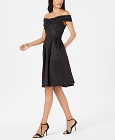 Calvin Klein Twisted Off-The-Shoulder A-Line Dress