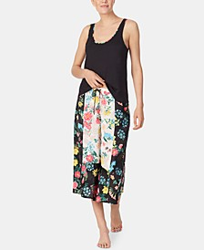 Floral-Print Tank & Culotte Pants Pajama Set